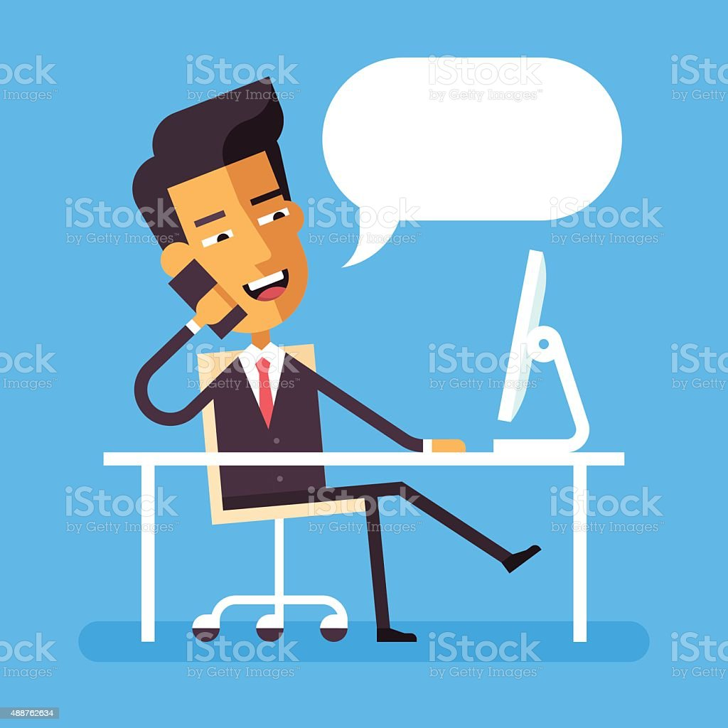 Asian businessman sitting at the desk with phone vector art illustration