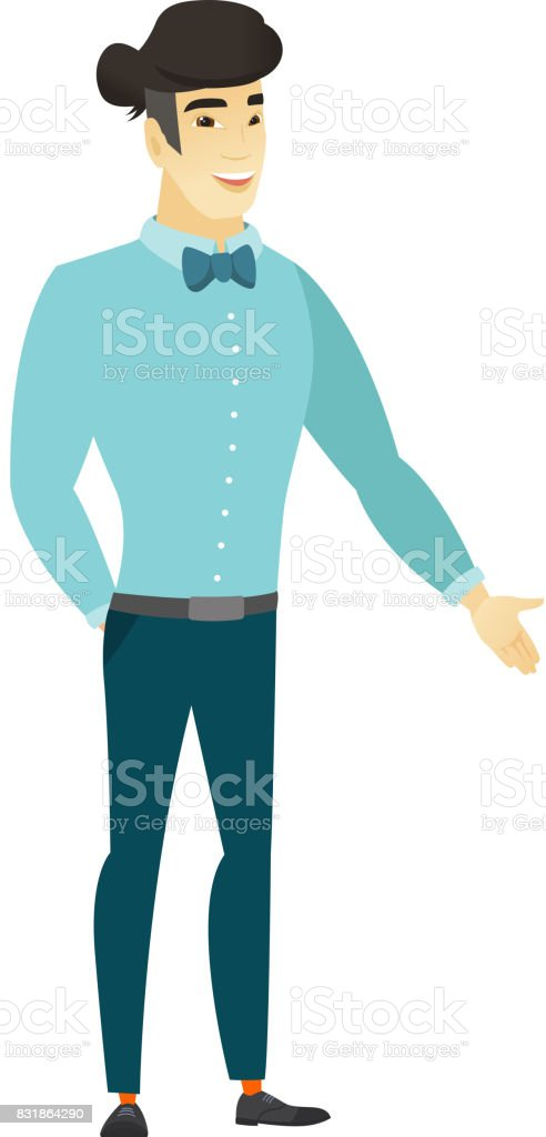 Asian businessman with hand in his pocket vector art illustration