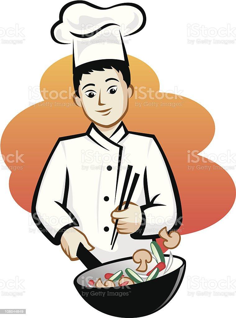 Asian Chef vector art illustration