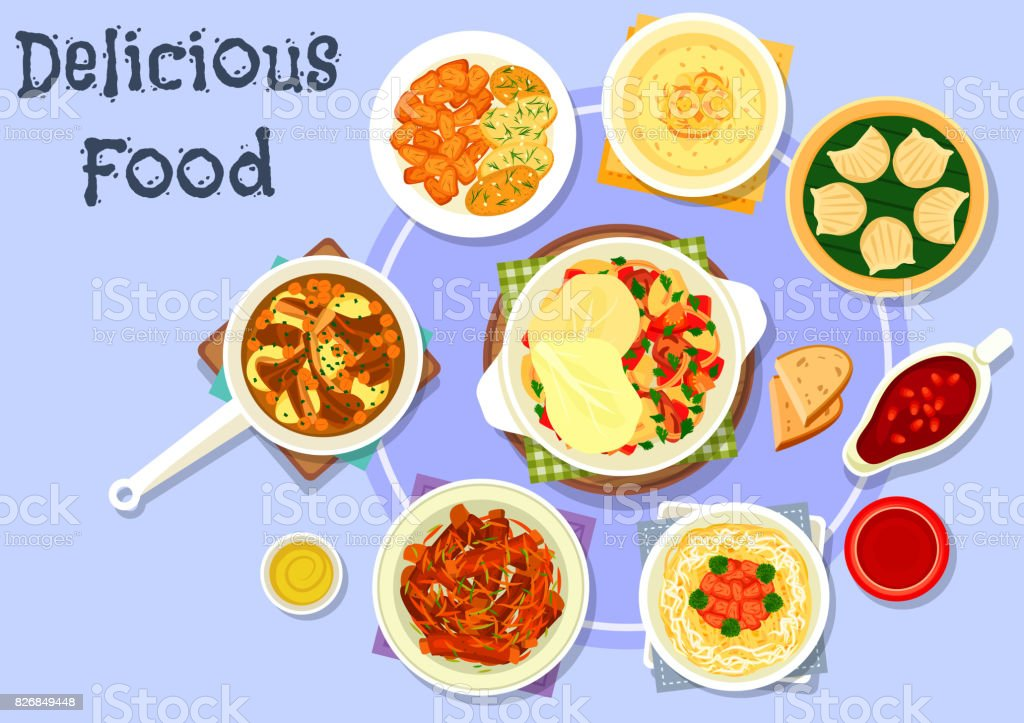 Asian cuisine dinner with dessert icon design vector art illustration