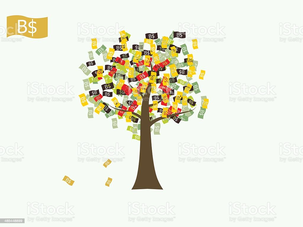 Asian currency growing tree vector: Brunei Dollar vector art illustration