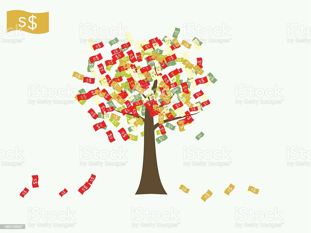Asian currency growing tree vector: Dollar Singapore vector art illustration