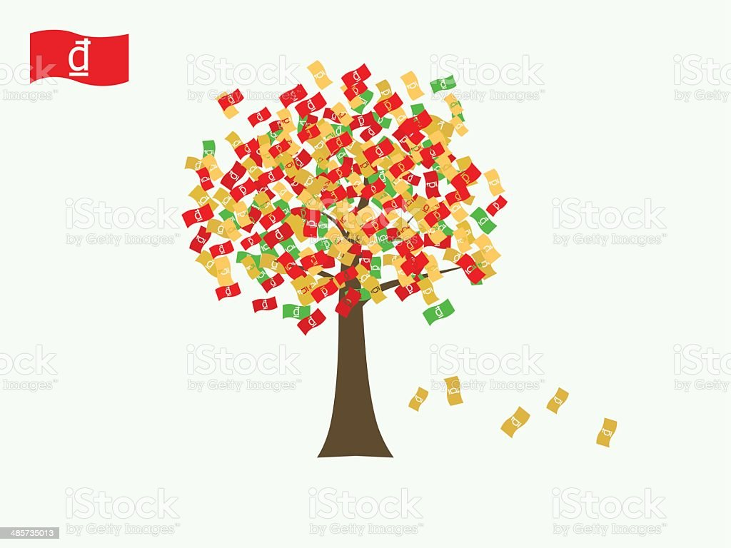 Asian currency growing tree vector: Dong Vietnam vector art illustration