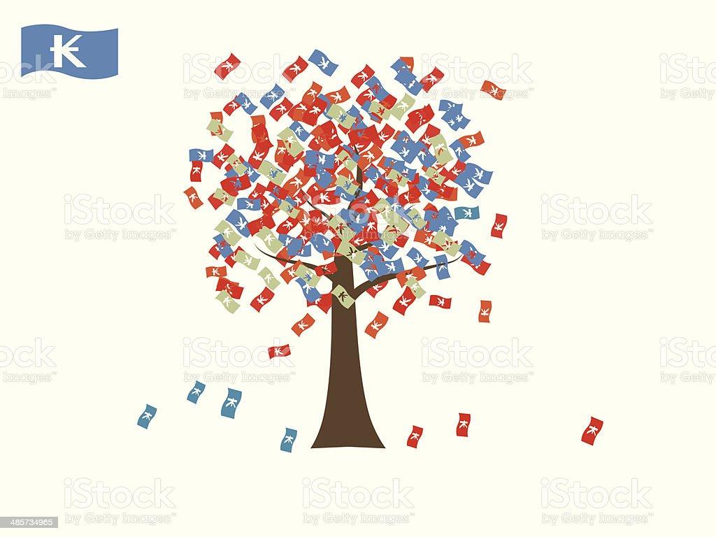 Asian currency growing tree vector: Kip Laos vector art illustration