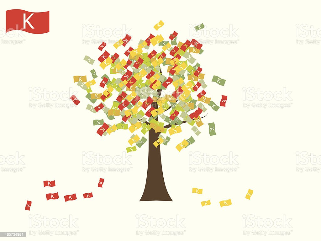 Asian currency growing tree vector: Kyat Myanmar vector art illustration