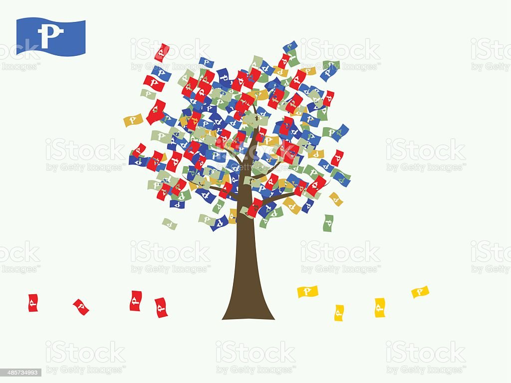 Asian currency growing tree vector: Peso Philippines vector art illustration