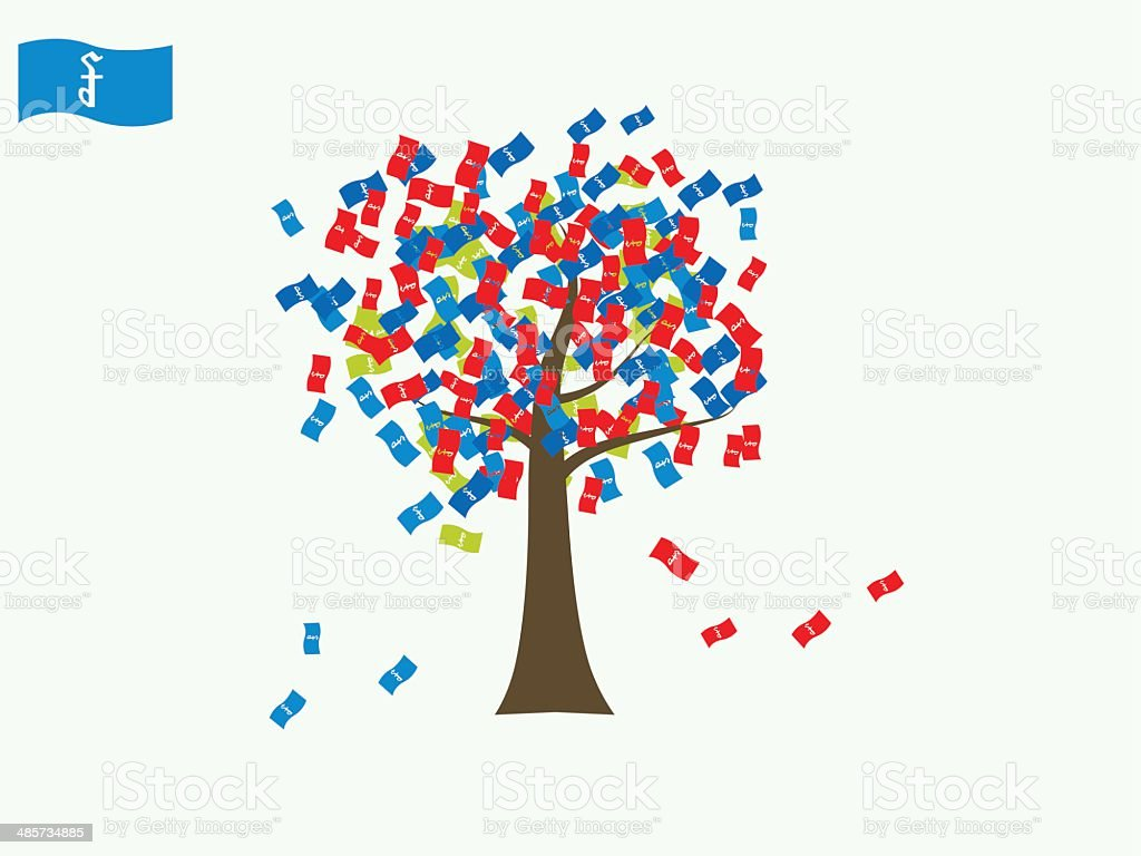 Asian currency growing tree vector: Rial Cambodia vector art illustration