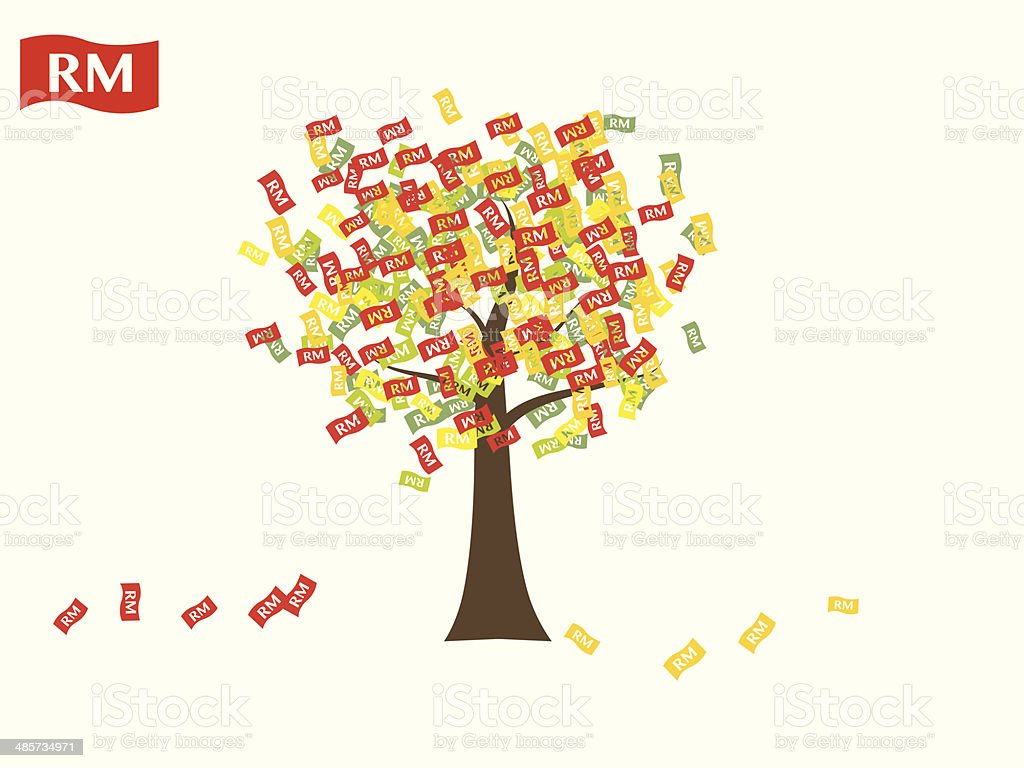 Asian currency growing tree vector: Ringgit Malaysia vector art illustration