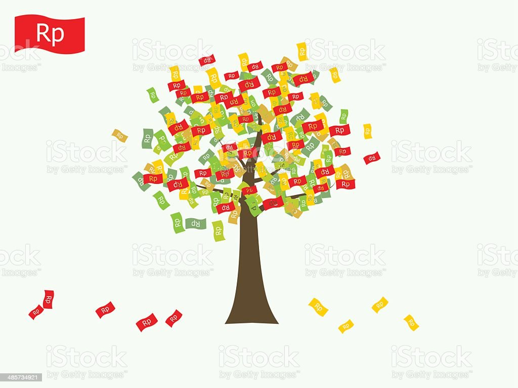 Asian currency growing tree vector: Rupiah Indonesia vector art illustration