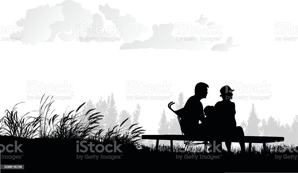 Asian Family Connection With Nature vector art illustration