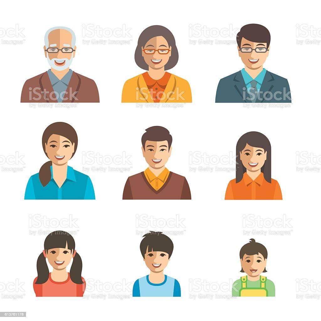 Asian family happy faces flat avatars set vector art illustration