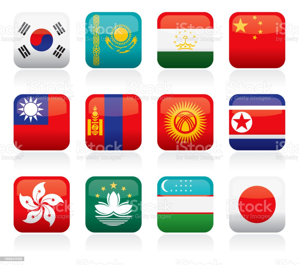 Asian Flag Buttons royalty-free stock vector art