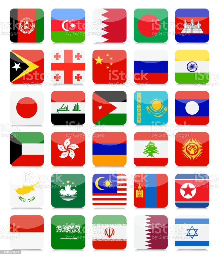 Asian Flags Flat Square Icon Set vector art illustration