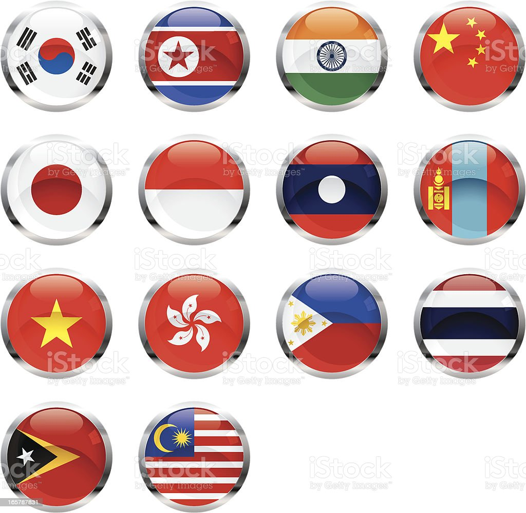Asian Flags royalty-free stock vector art