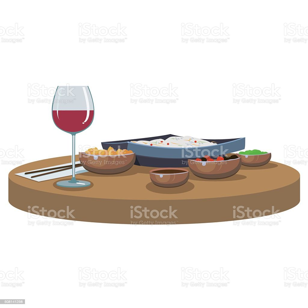 asian food and wine royalty-free stock vector art
