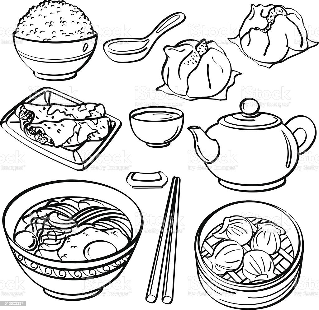 Asian food Collection vector art illustration
