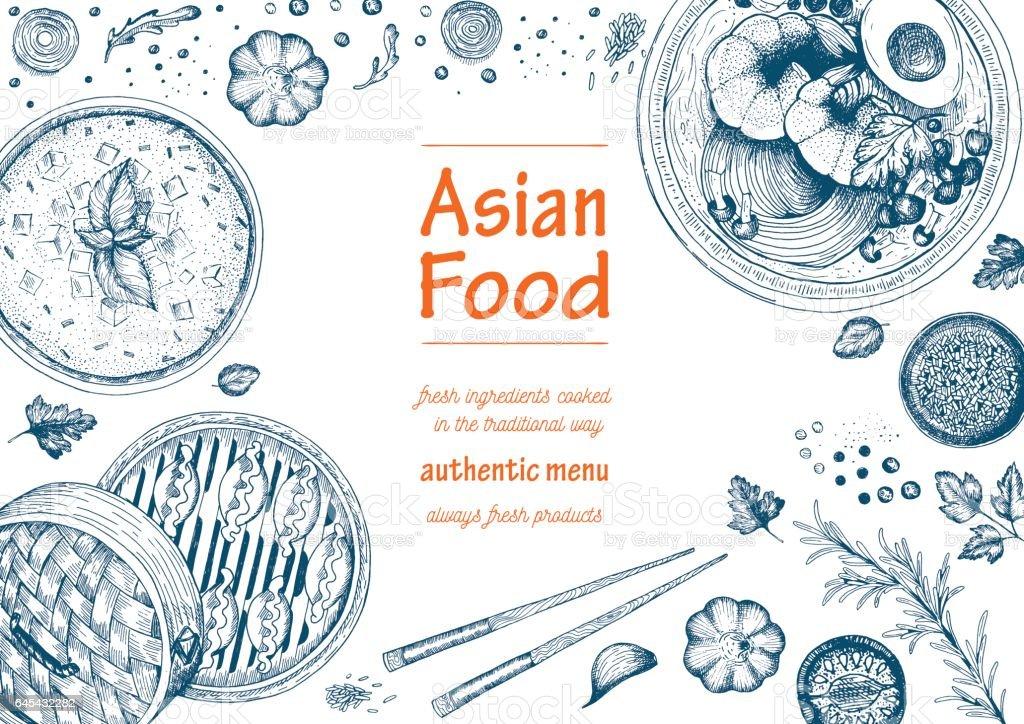 Asian food frame menu vector art illustration