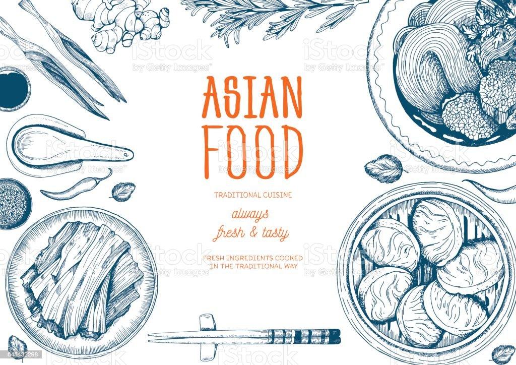 Asian food frame. vector art illustration