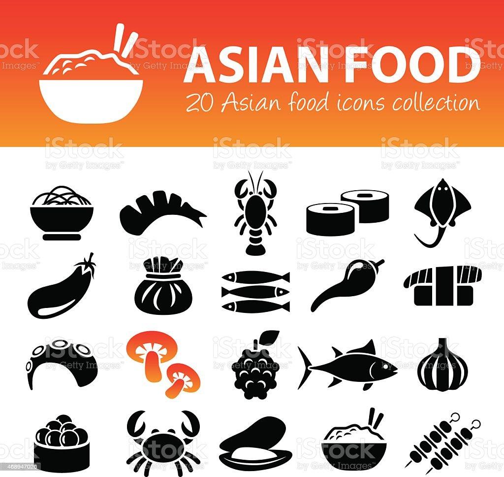 asian food icons vector art illustration