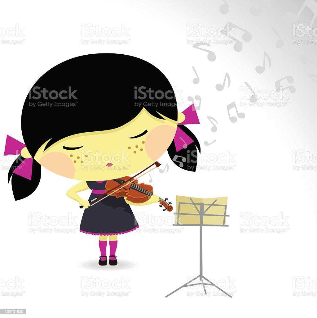 asian girl and violin vector art illustration