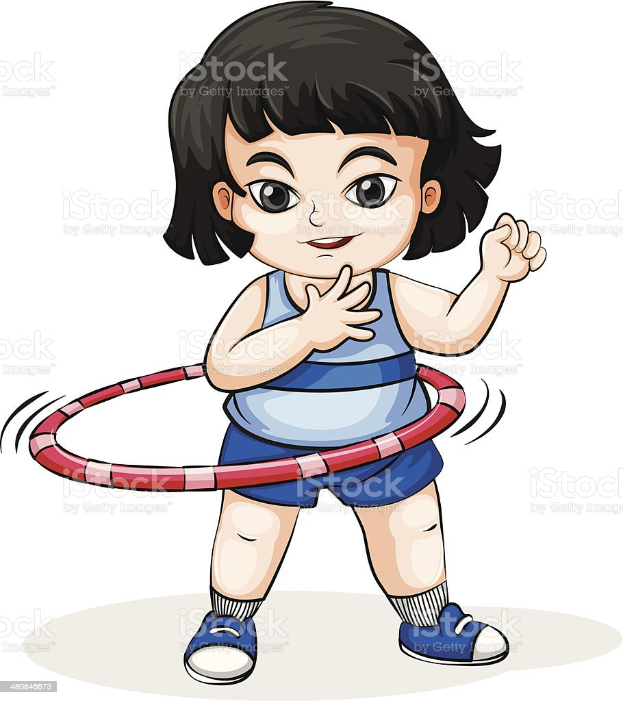 Asian girl playing with the hulahoop vector art illustration