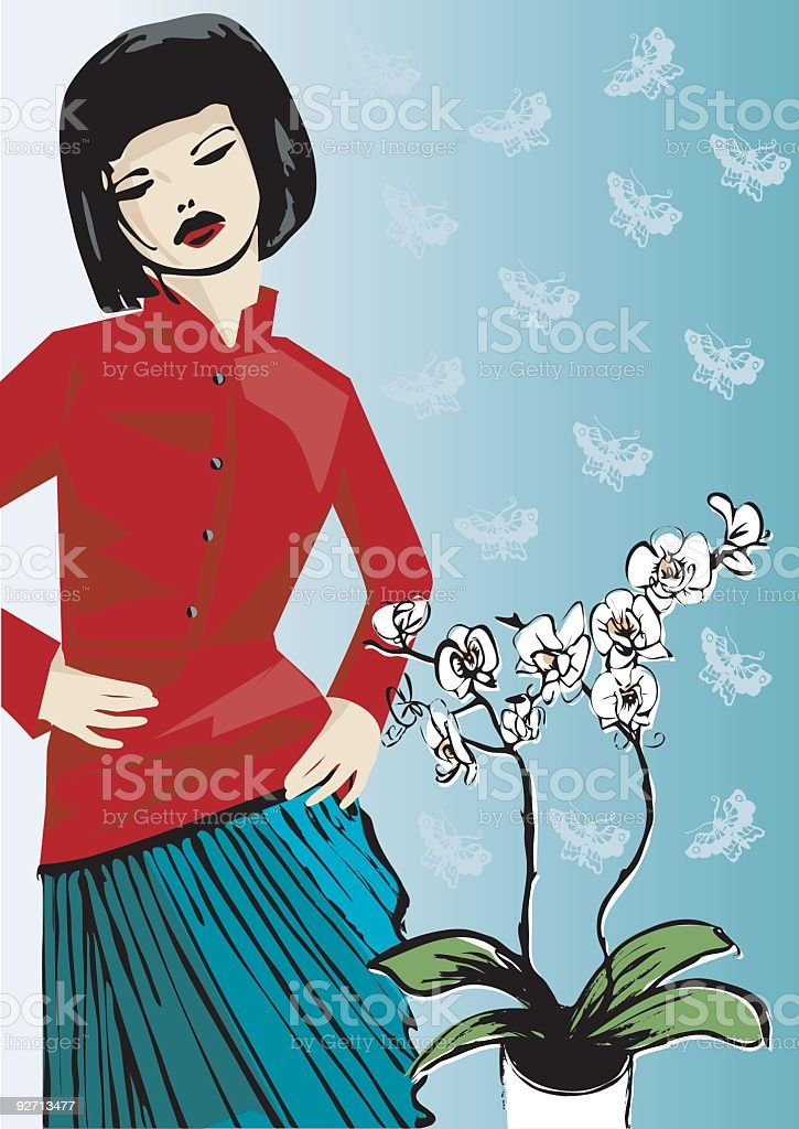 Oriental girl vector art illustration