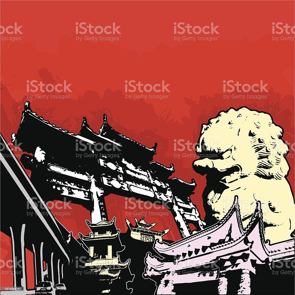 asian grunge scene vector art illustration