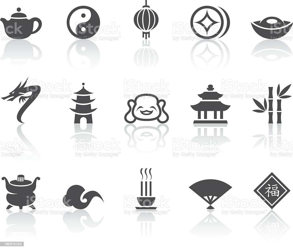 Asian Icons   Simple Black Series royalty-free stock vector art