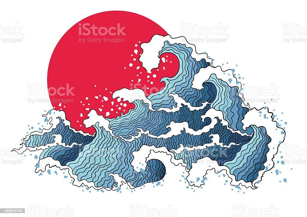 Asian illustration of ocean waves and sun. vector art illustration