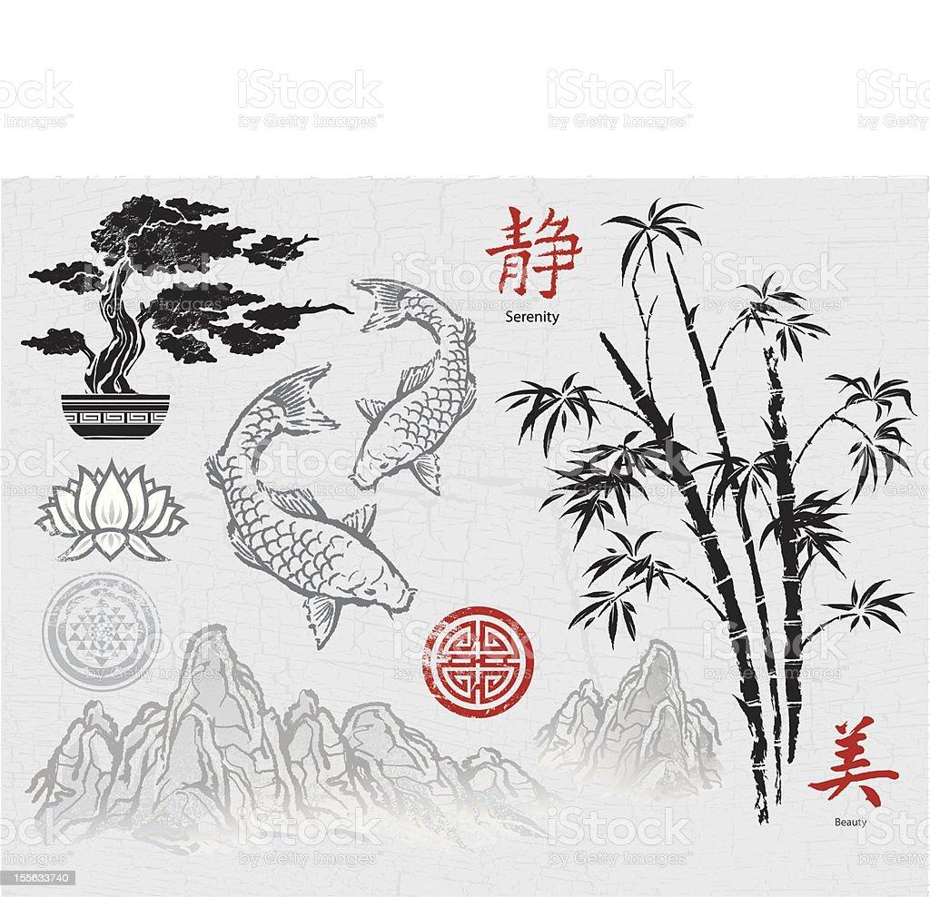 Asian ink design elements vector art illustration