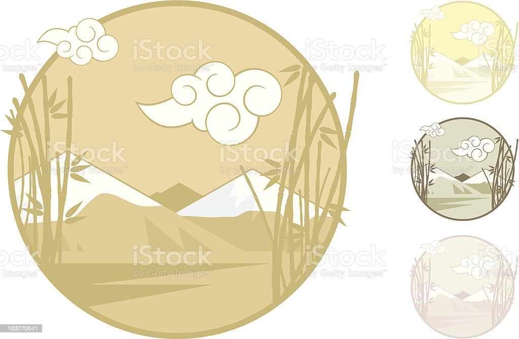 Asian Inspiration Landscape royalty-free stock vector art