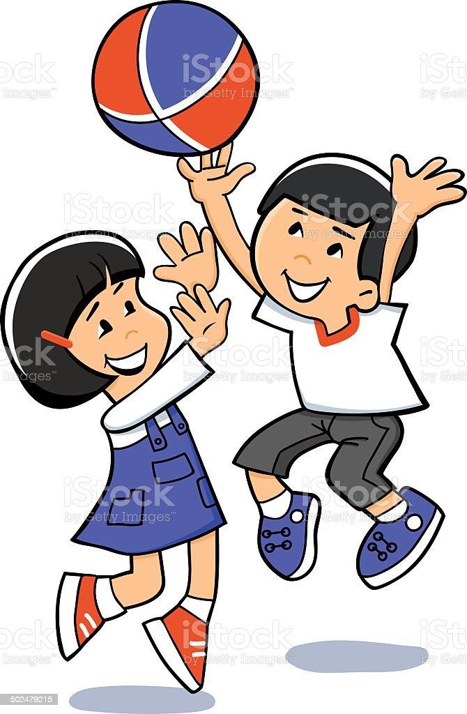 Asian kids are playing ball. Vector illustration vector art illustration