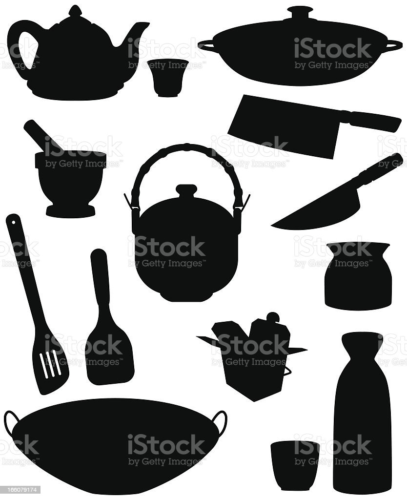 Asian Kitchen Silhouettes vector art illustration