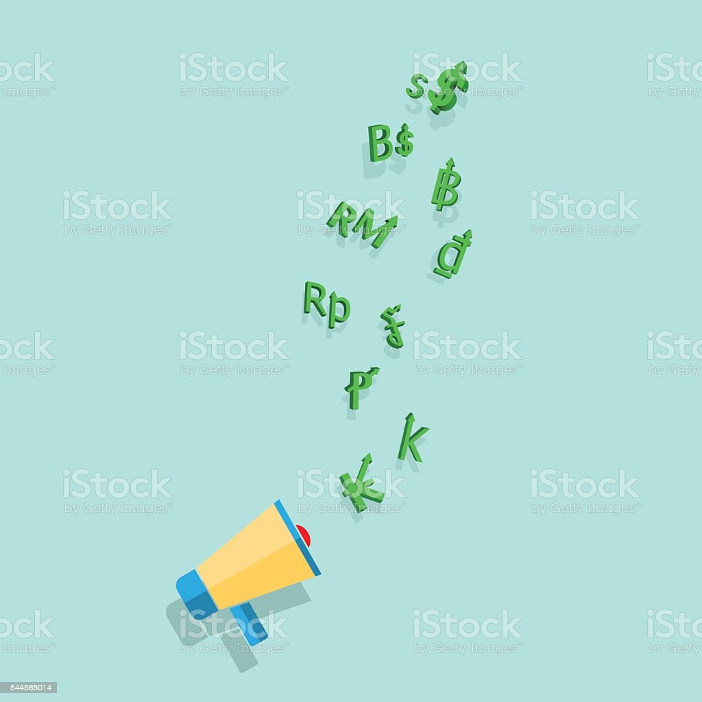 Asian money currencies symbol strength and weakness value design vector art illustration