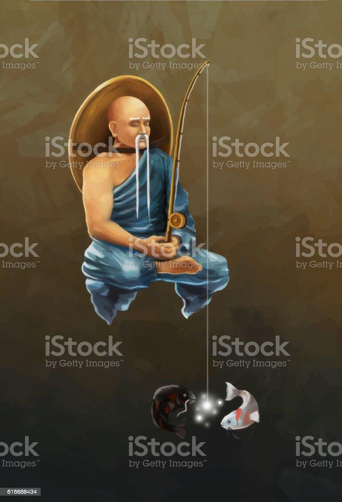 Asian monk with fishing rod catches koi carps, conceptual illustration vector art illustration