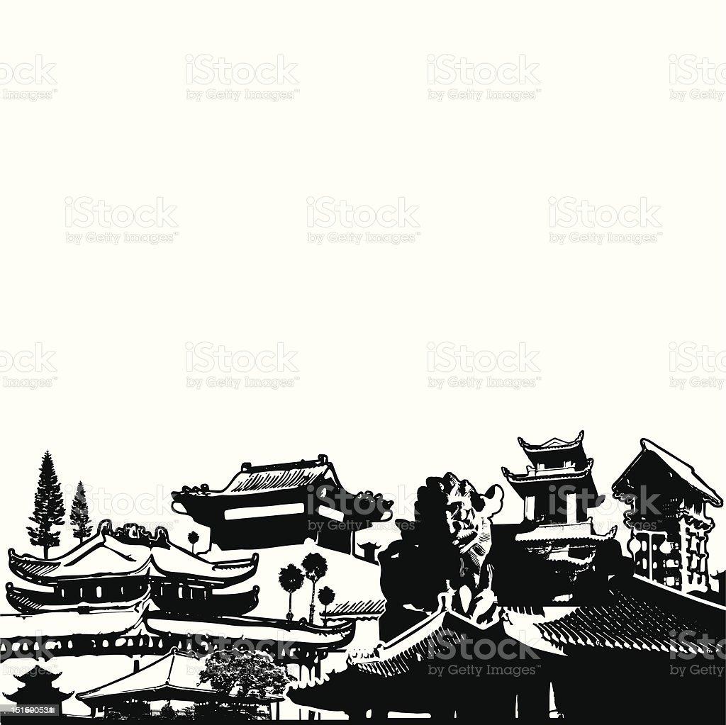 asian pagoda collage royalty-free stock vector art