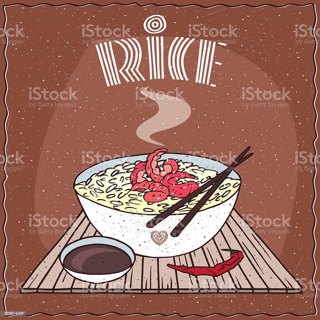 Asian rice Dal bhat or Nasi kandar with shrimp vector art illustration