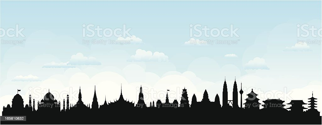 Asian Skyline (Buildings Are Detailed, Moveable and Complete) royalty-free stock vector art