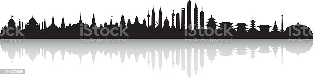 Asian Skyline (All Buildings are Complete, Detailed and Moveable) vector art illustration