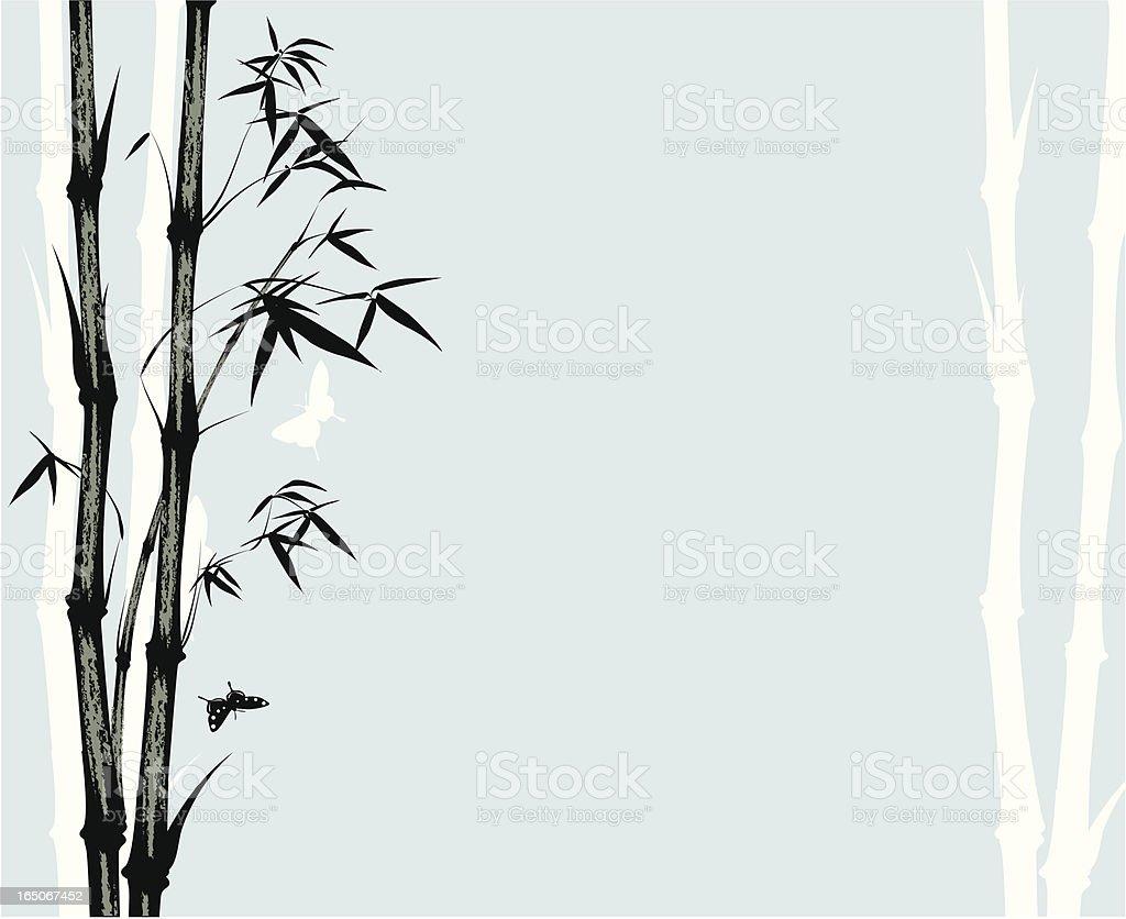 Asian style bamboo print vector art illustration