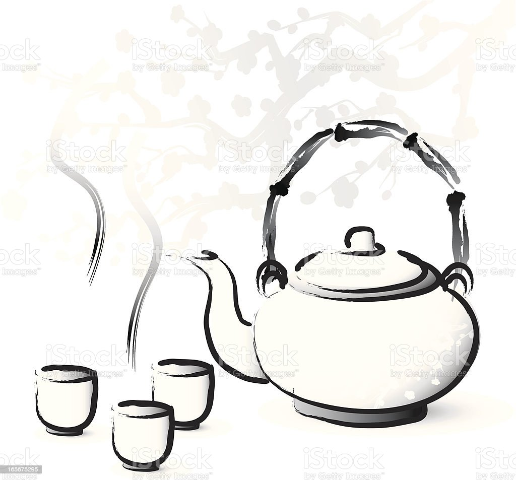 Asian style tea serving royalty-free stock vector art
