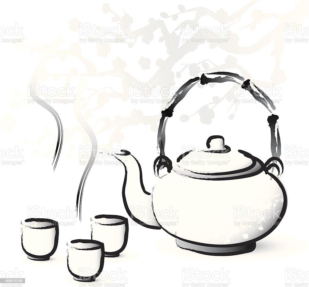 Asian style tea serving vector art illustration