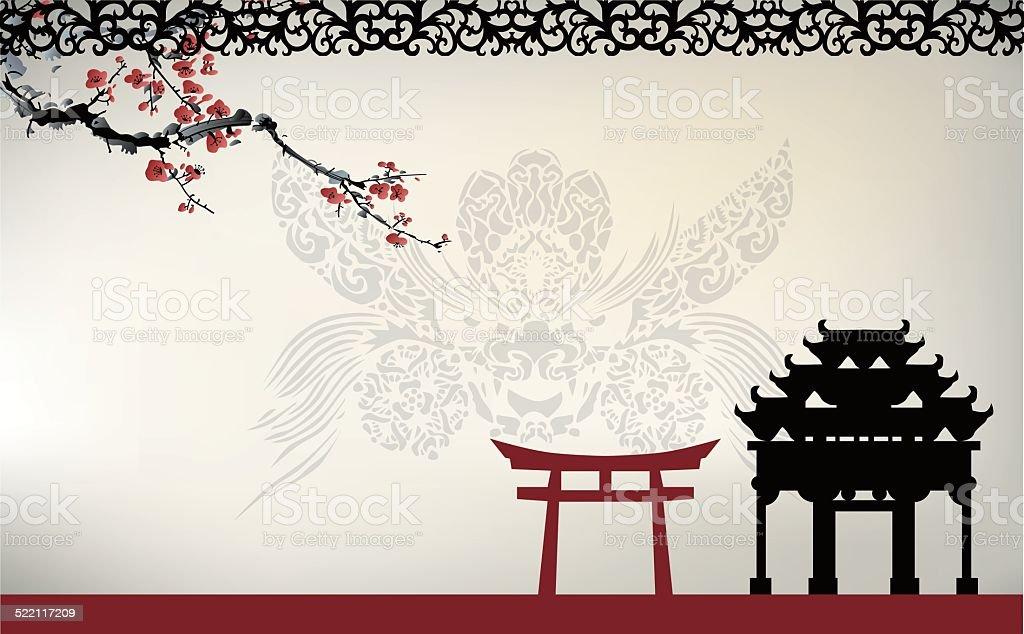 Asian theme vector art illustration