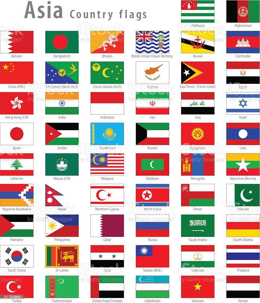 Asian Vector National flags Set vector art illustration