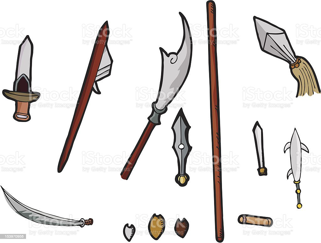 Asian Weapons Set I royalty-free stock vector art