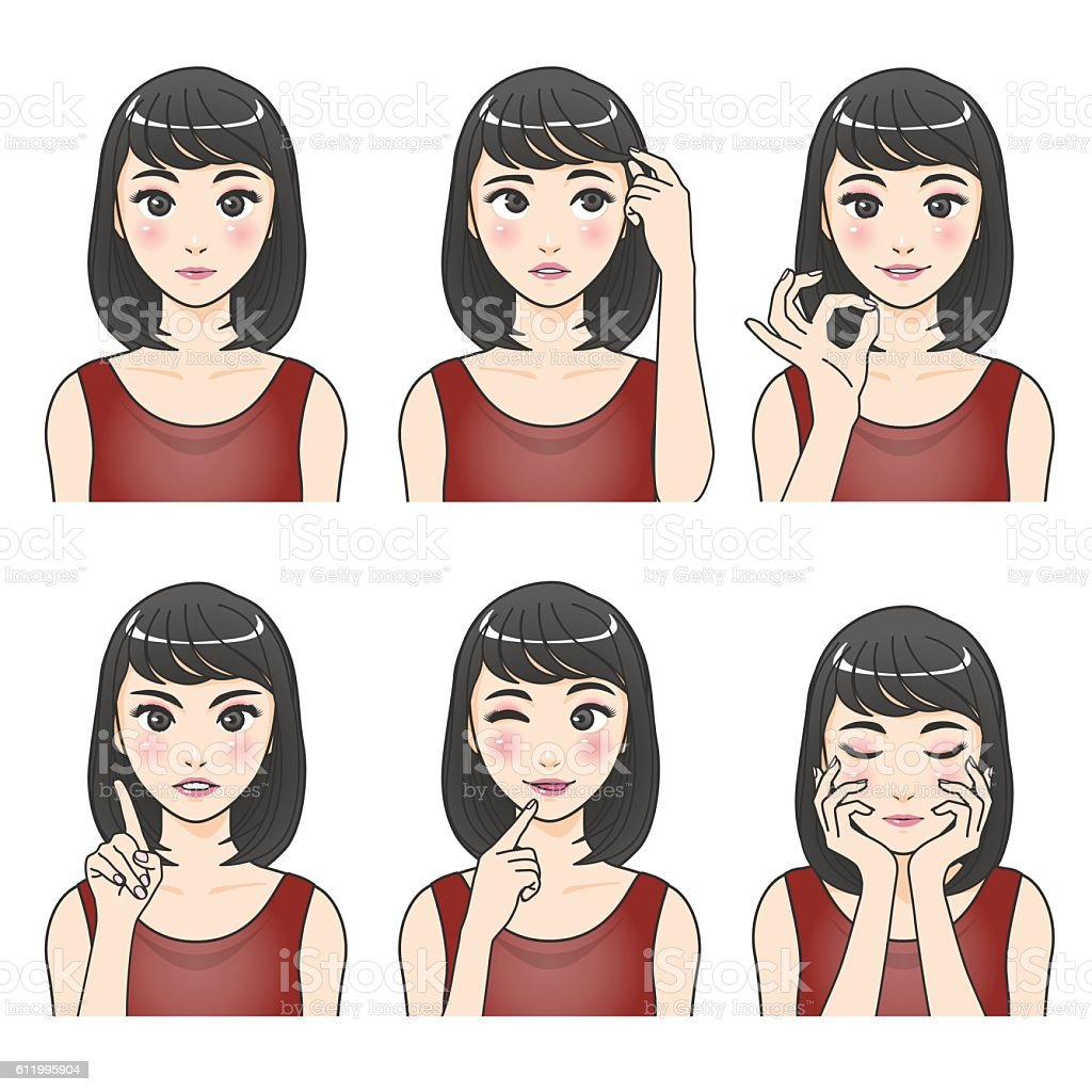 asian woman character set, various pose and expression vector art illustration