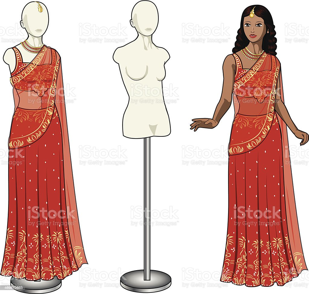asian woman tries on authentic traditional red wedding sari vector art illustration