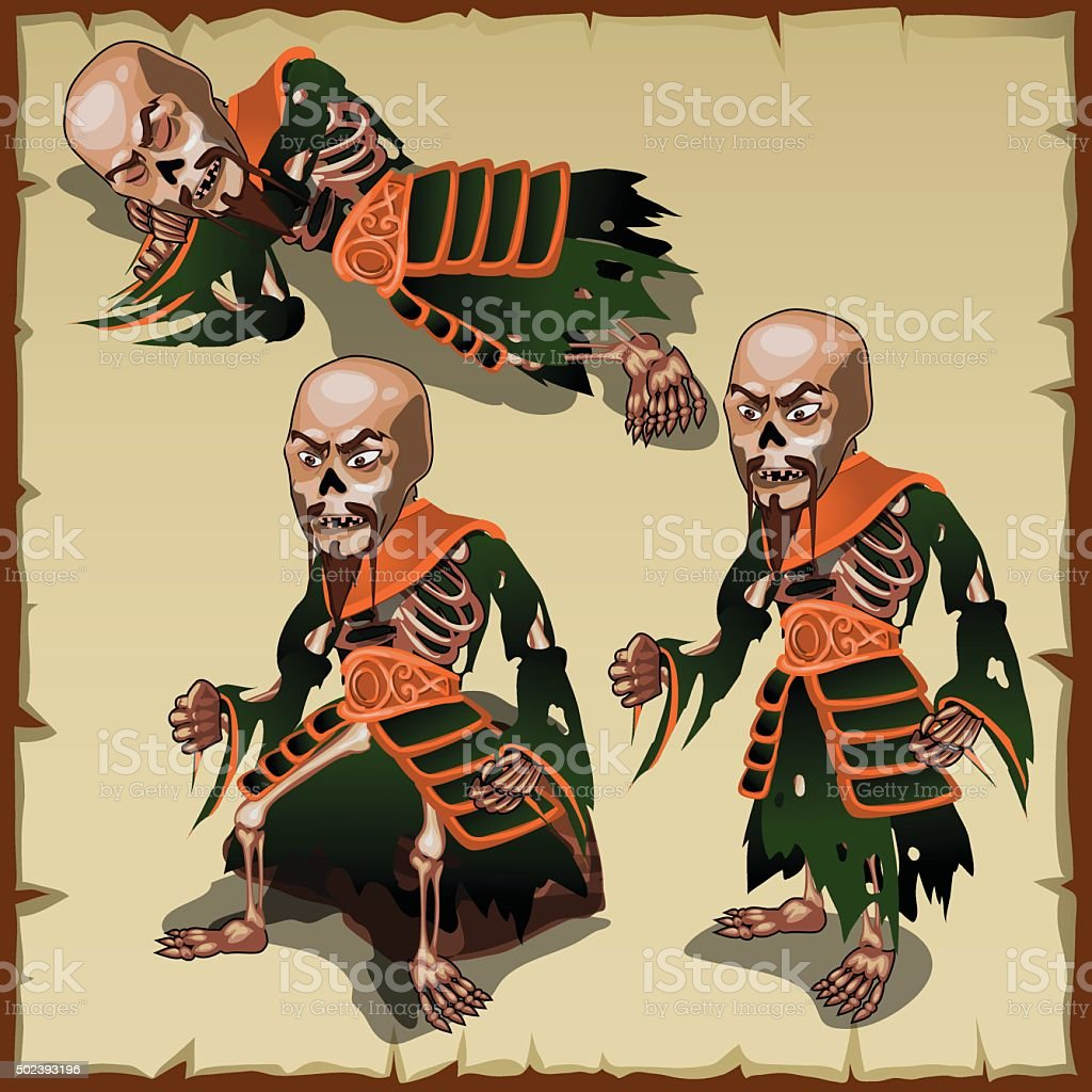 Asian zombies in different physical postures vector art illustration