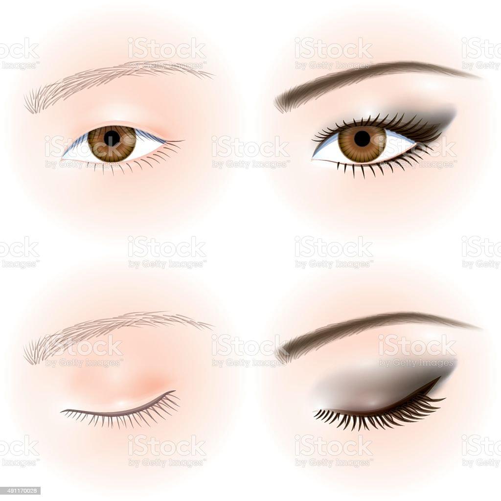 Asians eyes. Eye makeup vector art illustration