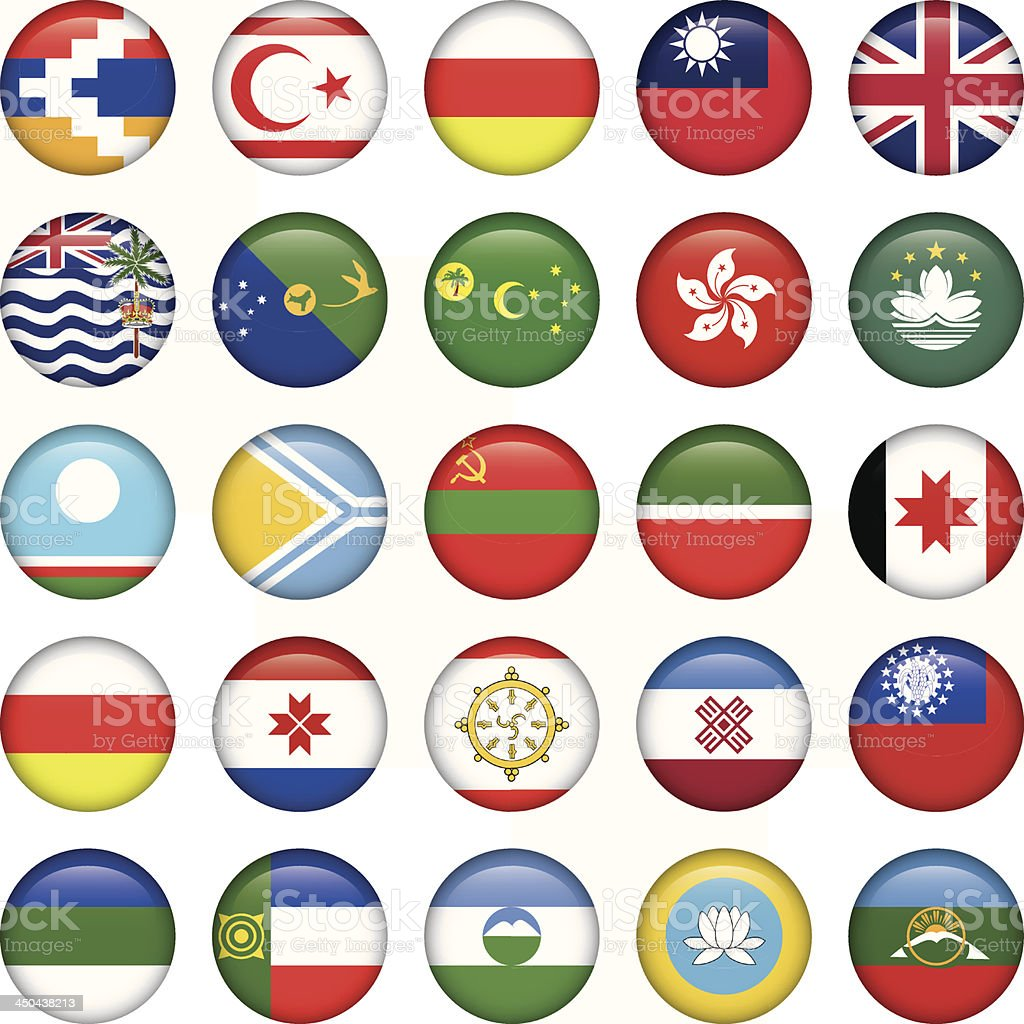 Asiatic Round Flags vector art illustration